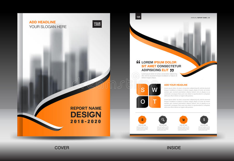 Sprawozdanie roczne broszurki ulotki szablon, pomarańcze pokrywy projekt ilustracja wektor