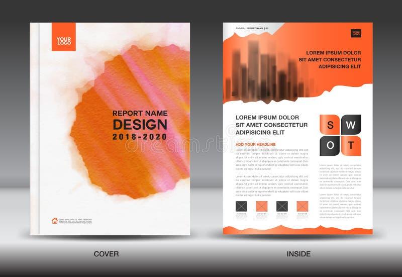 Sprawozdanie roczne broszurki ulotki szablon, pomarańcze pokrywy projekt, busi royalty ilustracja