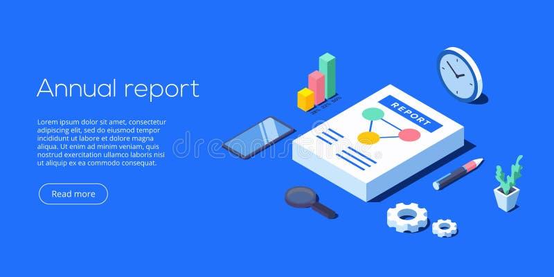 Sprawozdanie roczne dla biznesowej analizy Isometric wektorowy illustrati ilustracja wektor