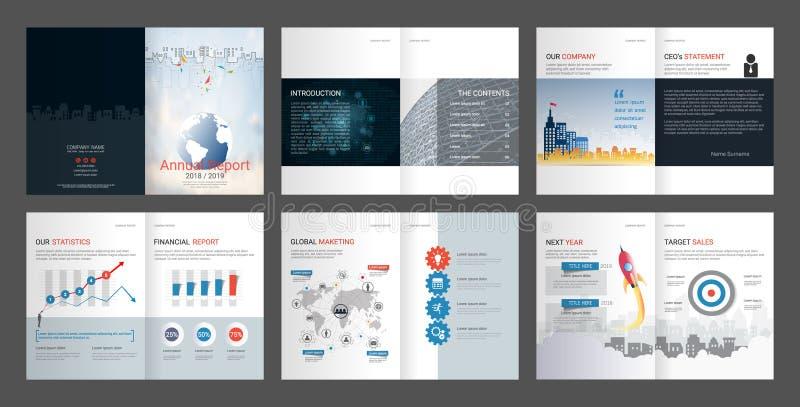 Sprawozdanie Roczne, firma profil, Agencyjna broszurka, Wielocelowy prezentacja szablon royalty ilustracja