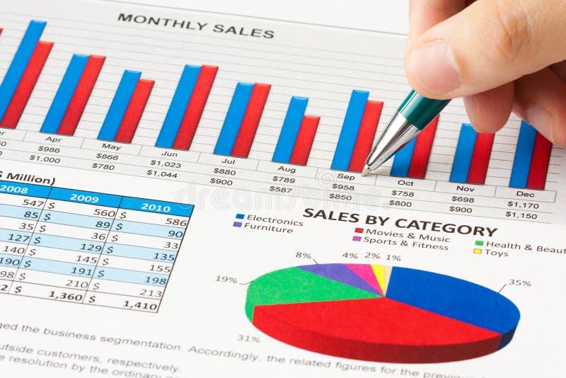 sprawozdanie roczne sprzedaże fotografia stock