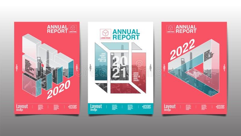 Sprawozdanie roczne 2020, 2021,2022, wielobok, geometryczny, szablonu układu projekt, pokrywy książka wektorowa ilustracja, preze royalty ilustracja