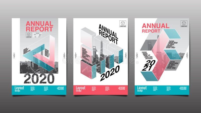 Sprawozdanie roczne 2020, 2021, wielobok, geometryczny, szablonu układu projekt, pokrywy książka wektorowa ilustracja, prezentacj royalty ilustracja