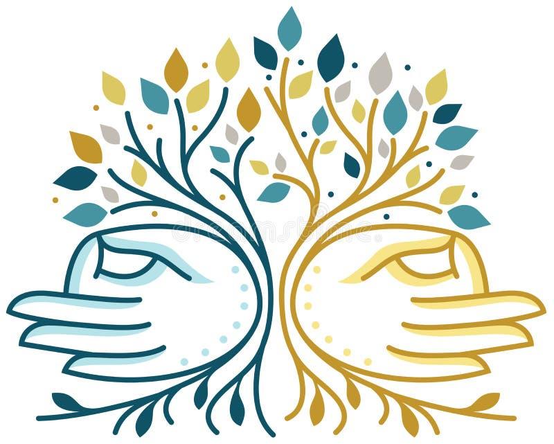 Sprawy duchowe Wręcza drzewa ilustracja wektor