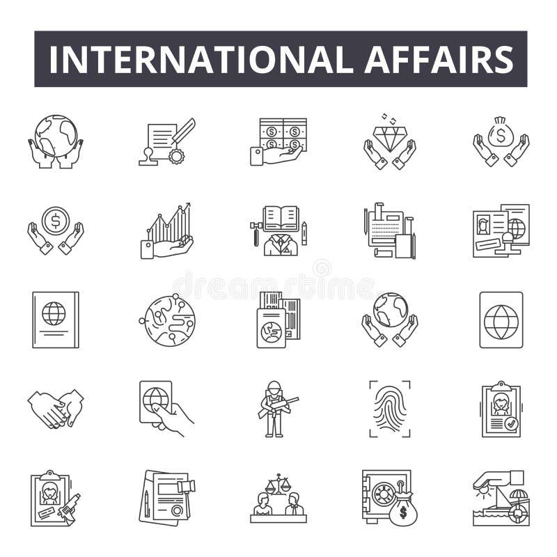 Sprawy międzynarodowe wykładają ikony, znaki, wektoru set, kontur ilustracji pojęcie royalty ilustracja