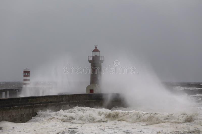 Spray after big ocean wave crash stock image