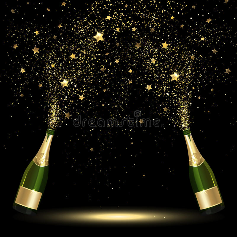 Spray Bottle of Champagne Golden Confetti. On a black background royalty free illustration