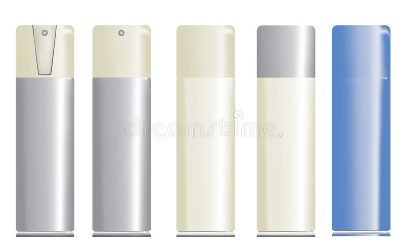 Spray bottles. Blank 3D illustrations of different spray bottles. You can add your own label royalty free illustration