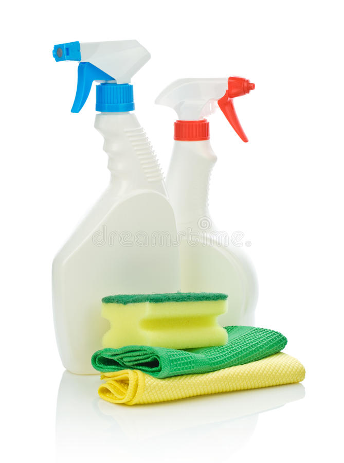 Free Spray Bottles And Sponges Royalty Free Stock Image - 15666556