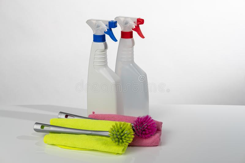 Cleaning products and tools royalty free stock photos