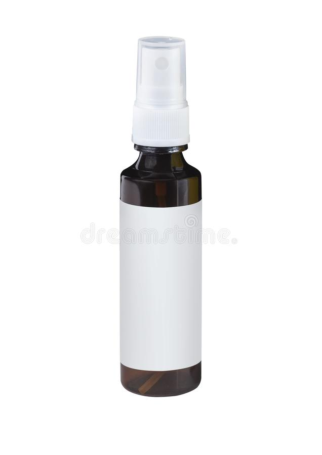 Spray brown plastic bottle with blank label royalty free stock images