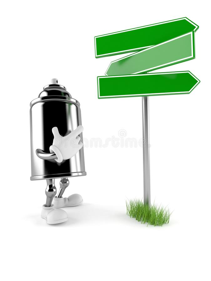 Spray can character with blank signpost. Isolated on white background. 3d illustration royalty free illustration