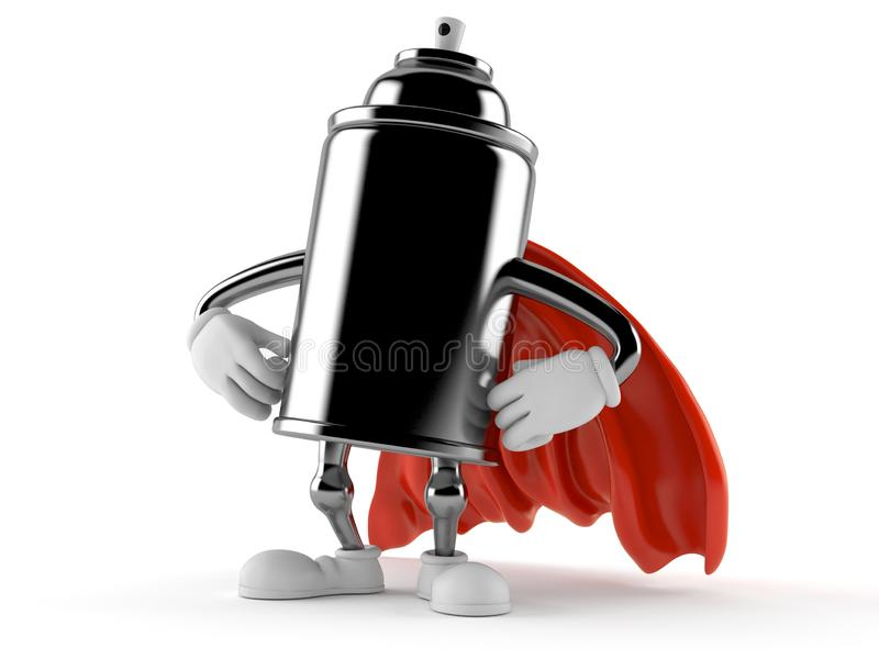 Spray can character with hero cape. Isolated on white background. 3d illustration vector illustration