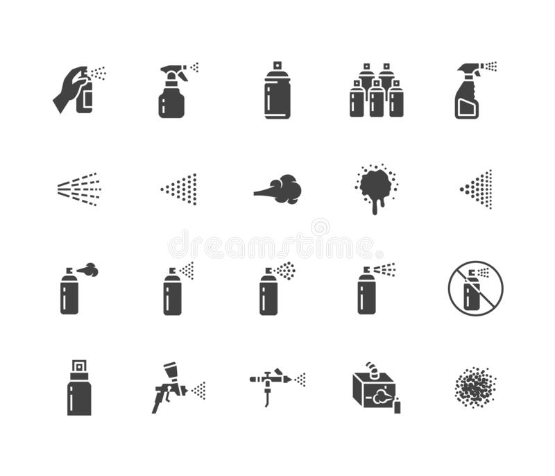 Spray can flat glyph icons set. Hand with aerosol, airbrush, powder coating, graffiti art, cough effect vector. Illustrations. Signs for disinfection, cleaning vector illustration