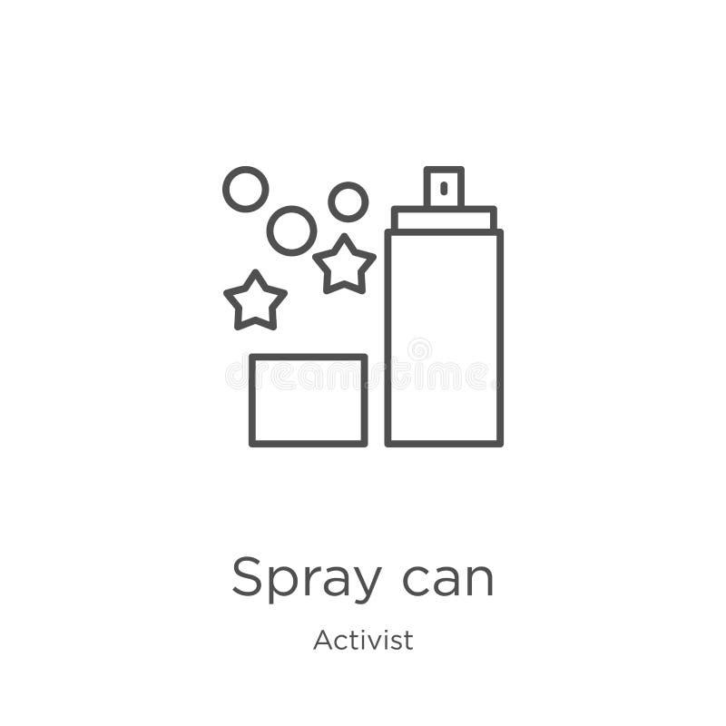 spray can icon vector from activist collection. Thin line spray can outline icon vector illustration. Outline, thin line spray can stock illustration