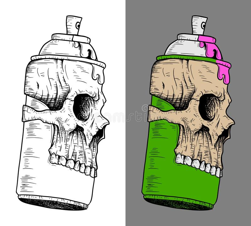 Spray Can with Skull mask. Green Spray Can wearing Skull mask royalty free illustration