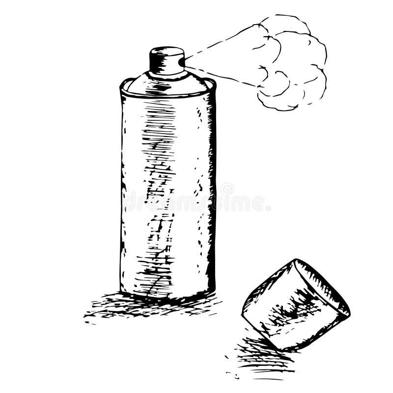 spray Den monokromma slaglängden skissar materielet stock illustrationer
