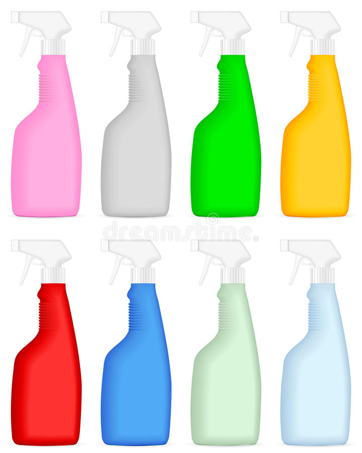 spray för cleaning för flaska 3 royaltyfri illustrationer