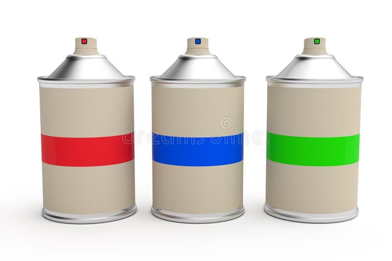 spray för rad för cansmålarfärgrgb stock illustrationer