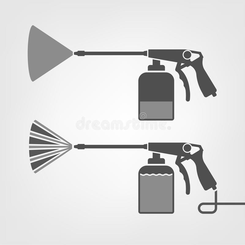Spray Gun Icon. Vector illustration of a car body repair instruments. Automotive concept useful for a pictogram, icon, logotype or signboard design royalty free illustration