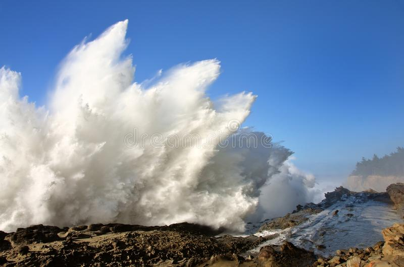 Spray From Huge Waves At Shore Acres State Park, Oregon stock photo