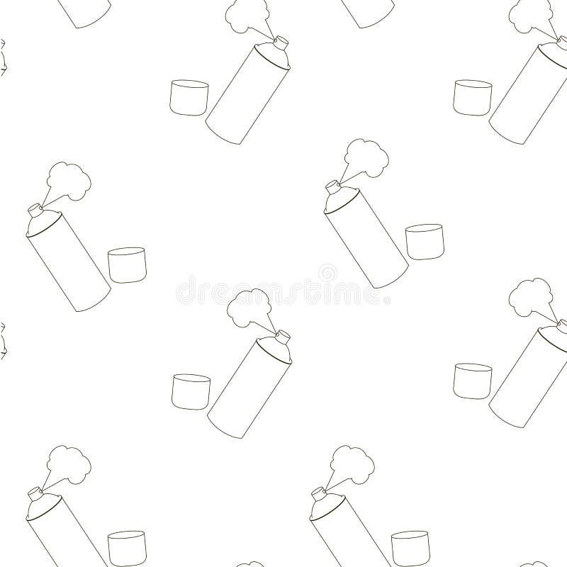 spray monokrom skissar den sömlösa modelldesignbeståndsdelen royaltyfri illustrationer