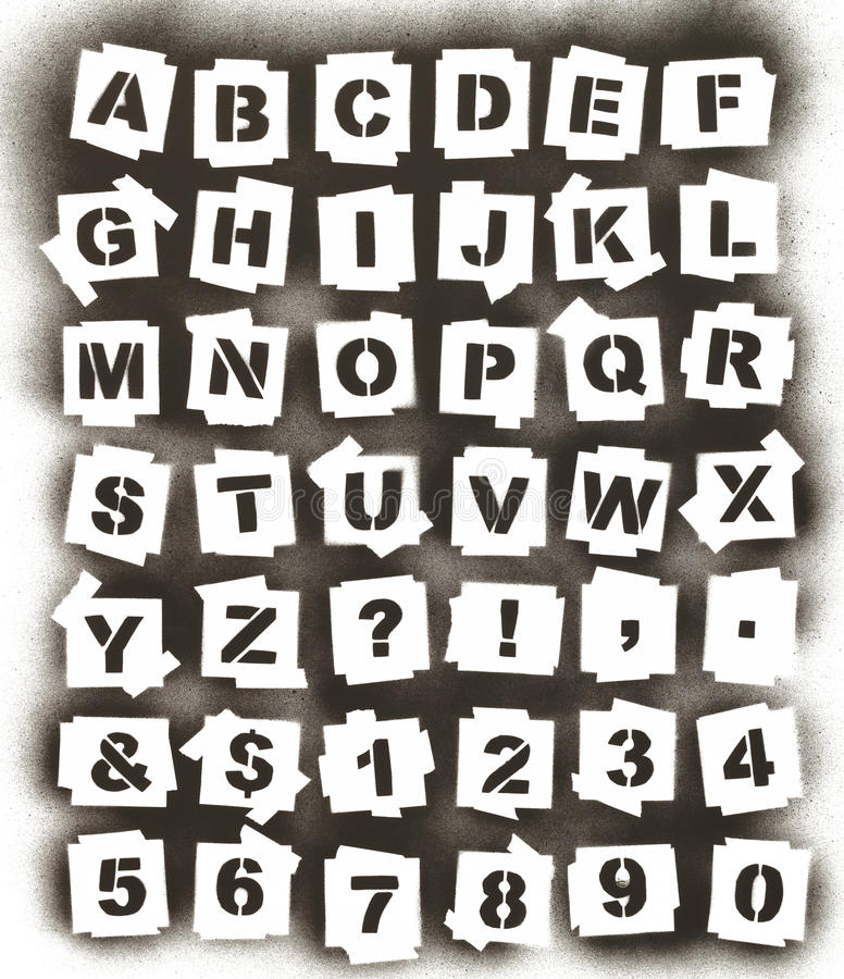 Spray Paint Alphabet. Black Spary Painted Alphabet ABC Stencil Isolated on White Background stock photography