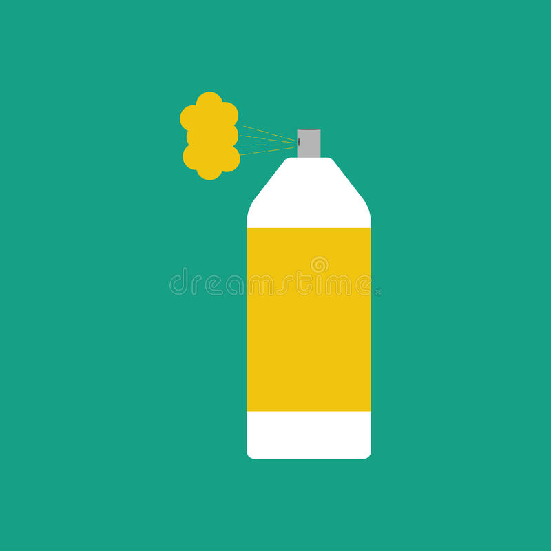 Spray paint can. On the green background. Vector illustration royalty free illustration