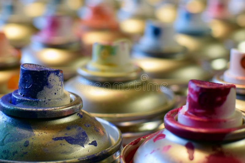 Spray paint cans stock photography