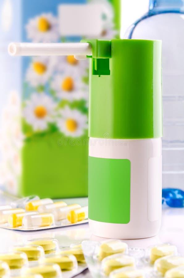Spray And Pill Box Royalty Free Stock Image