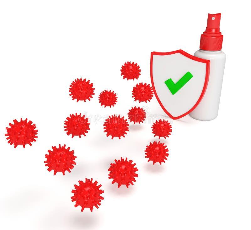 Spray Shield 3D para vírus foto de stock