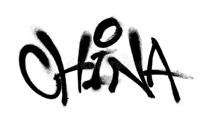 Sprayed China font graffiti with overspray in black over white. Vector illustration. vector illustration