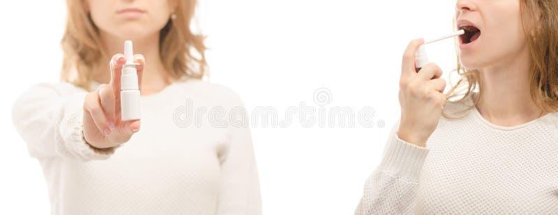 Spraykehlmedizin der Frauhandmedizinnase Grippe-Krankheitssatz der nazal gesunder kalter lizenzfreie stockbilder