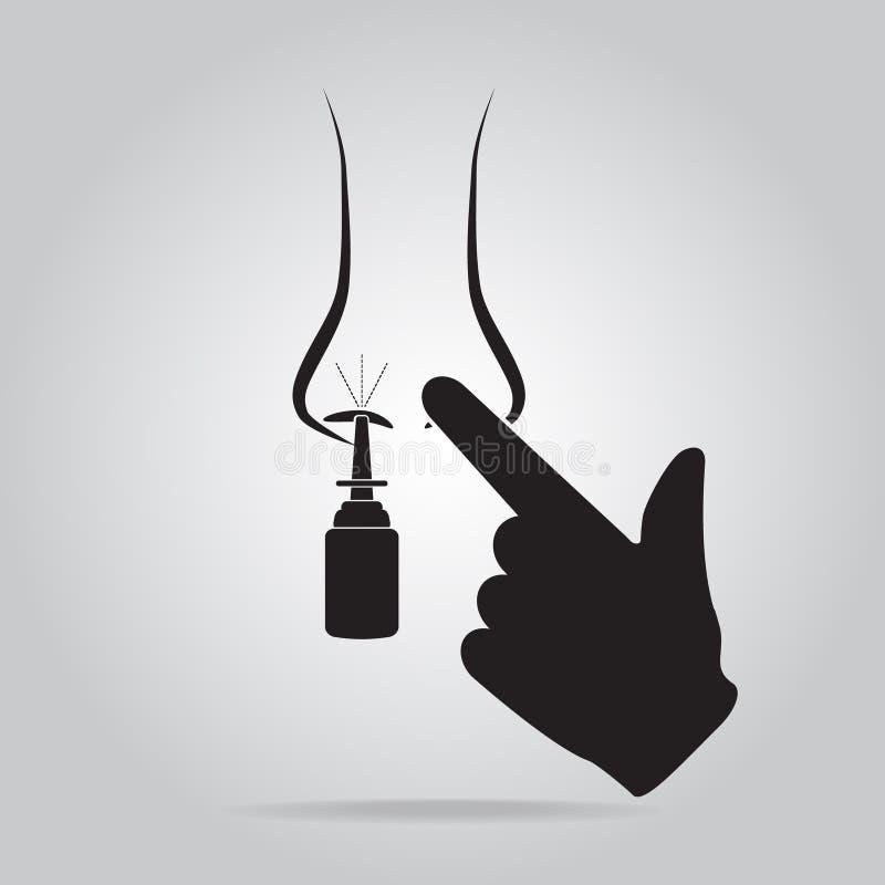 Sprays medicine for allergy in nose and finger icon. Vector illustration vector illustration