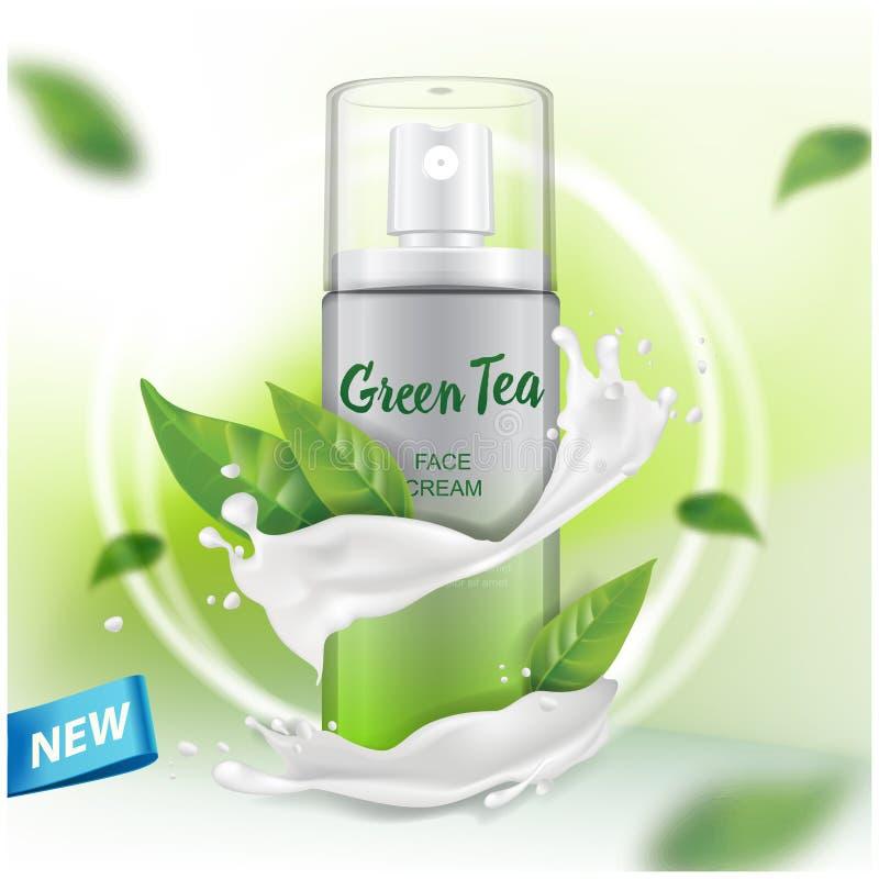 Sprayspott oben mit Auszugwerbung des grünen Tees für Katalog, Zeitschrift Vektordesign des kosmetischen Pakets stock abbildung