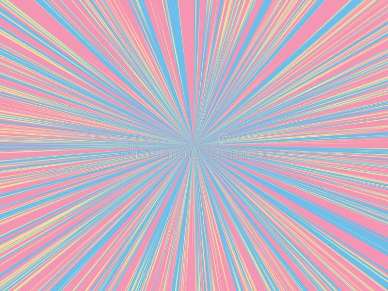 Sprazzo di sole blu e giallo rosa astratto di colore, fondo del raggio del sole illustrazione di stock