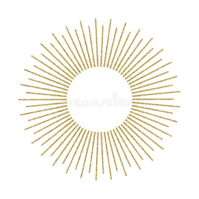 Sprazzo di sole dorato astratto su fondo bianco Esplosione solare d'annata illustrazione vettoriale