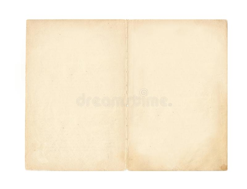 Spread of the book - an old yellowed page with ragged edges. Old book isolated on white background. Spread of the book - an old yellowed page with ragged edges stock photography