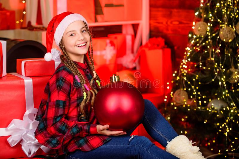 Spread love. Winter holiday. Christmas concept. Child fancy santa enjoy celebration new year. Small cute girl with big royalty free stock photos