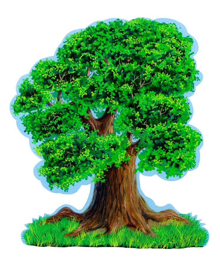 Spreading tree with a wide crown with delicate green leaves against a blue clear sky and green grass. Is isolated. Painted hands. Gouache. Sticker. Drawing for vector illustration