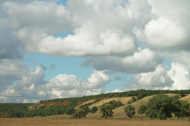 A spreading trees in a sunny picturesque autumn hilly valley, against a background of a clear blue sky with sparse clouds. royalty free stock image