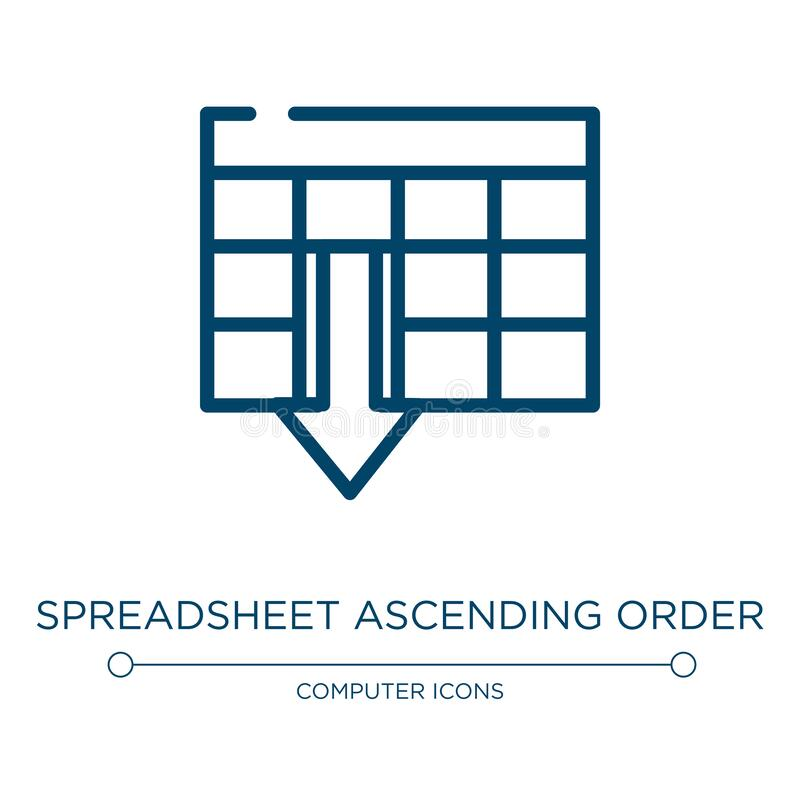 Free Spreadsheet Ascending Order Icon. Linear Vector Illustration From Computer And Media Collection. Outline Spreadsheet Ascending Royalty Free Stock Images - 187616929