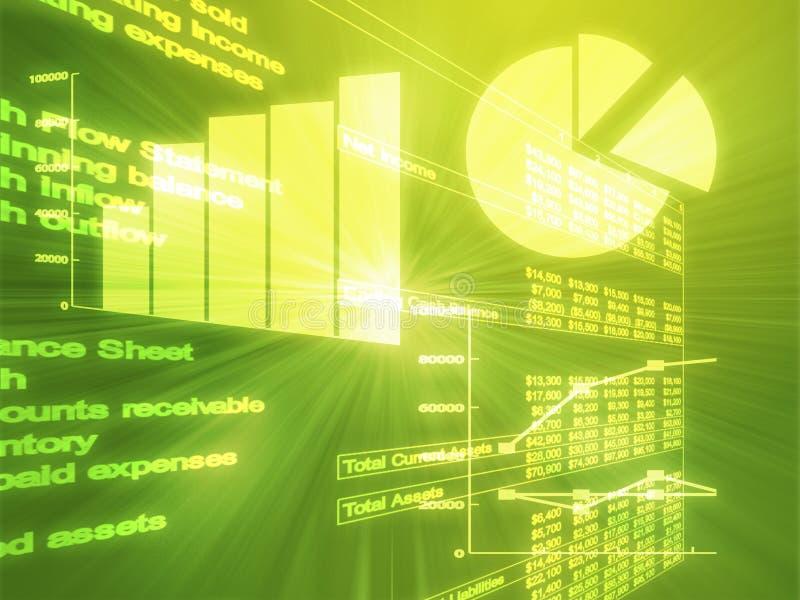Spreadsheet business charts illustration royalty free illustration