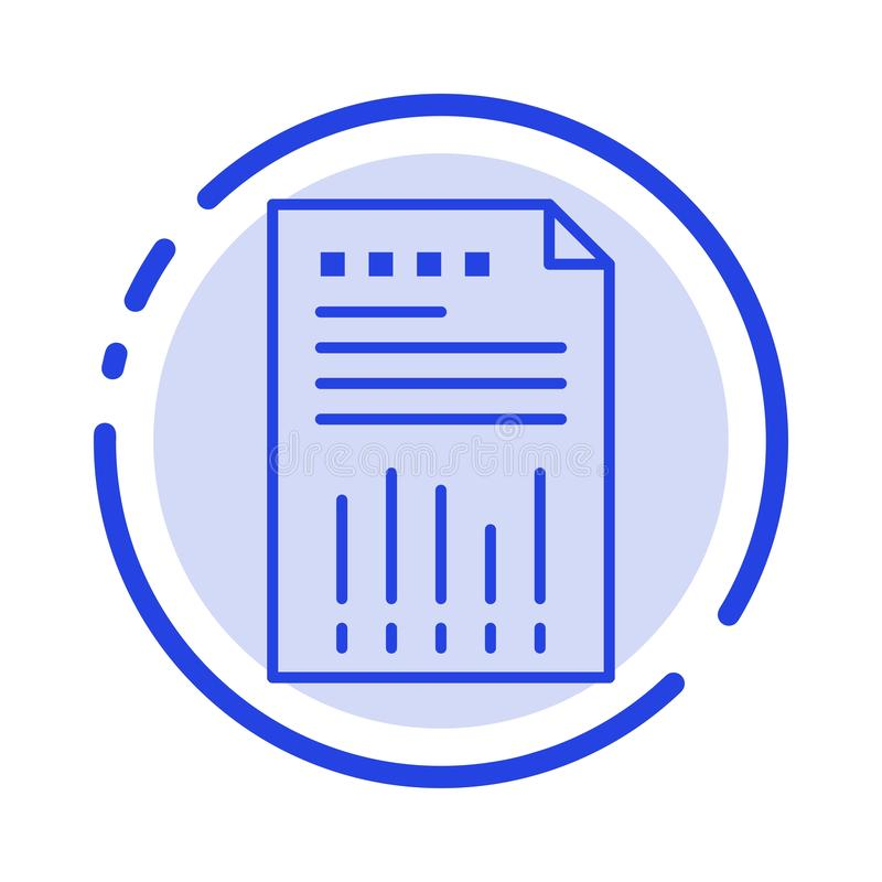 Spreadsheet, Business, Data, Financial, Graph, Paper, Report Blue Dotted Line Line Icon royalty free illustration