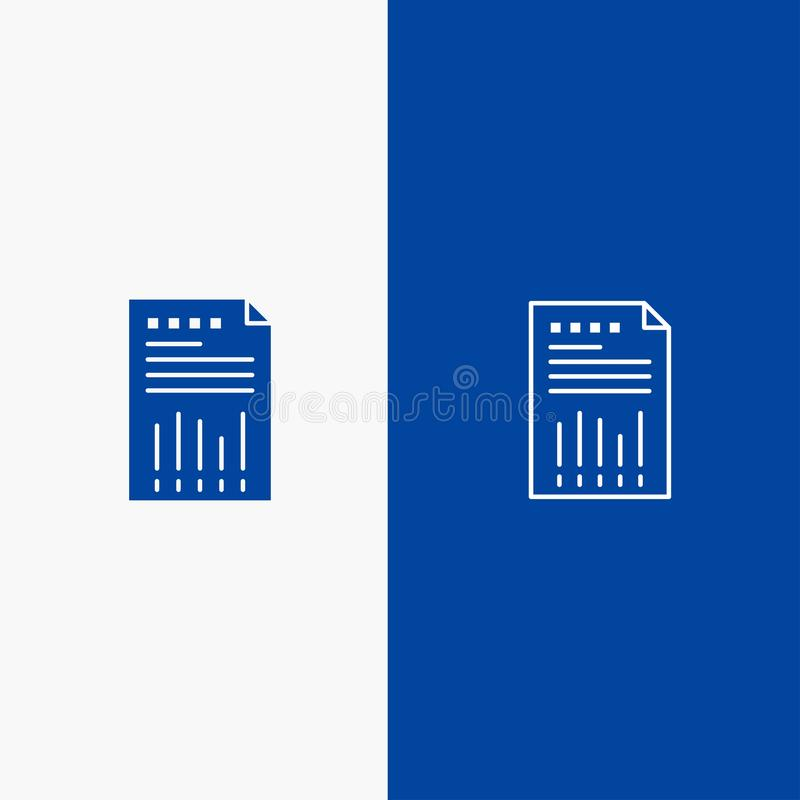Spreadsheet, Business, Data, Financial, Graph, Paper, Report Line and Glyph Solid icon Blue banner Line and Glyph Solid icon Blue vector illustration