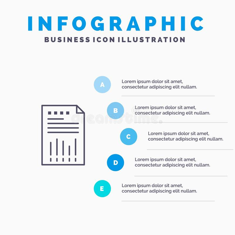 Spreadsheet, Business, Data, Financial, Graph, Paper, Report Line icon with 5 steps presentation infographics Background stock illustration