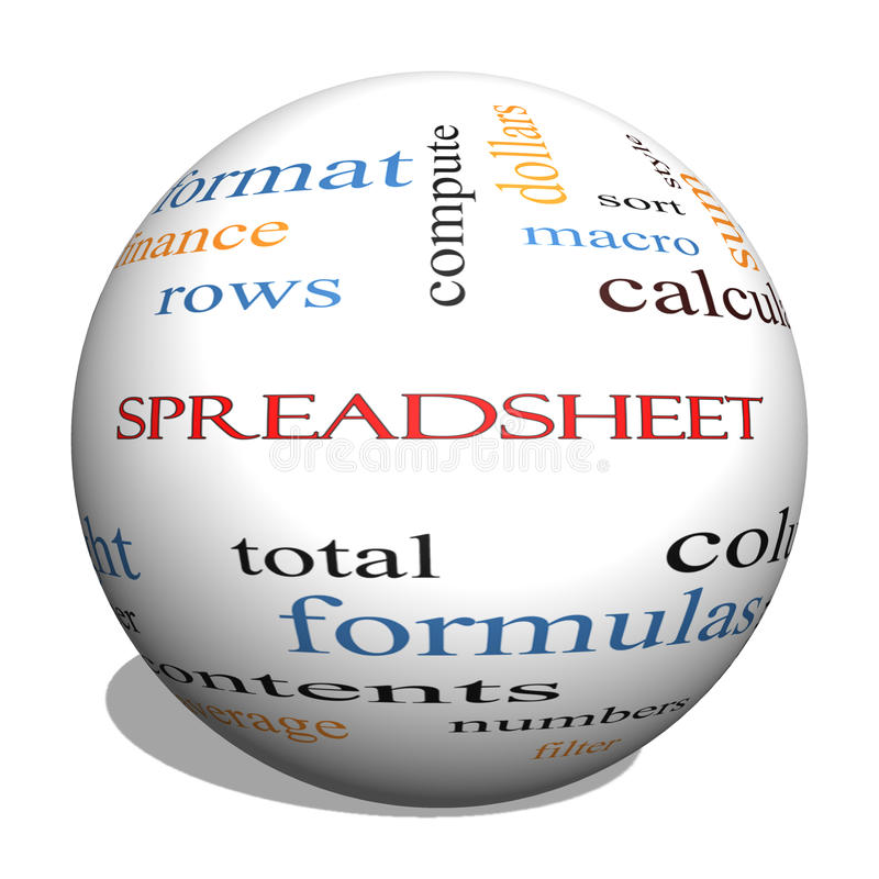 Spreadsheet 3D Sphere Word Cloud Concept stock illustration