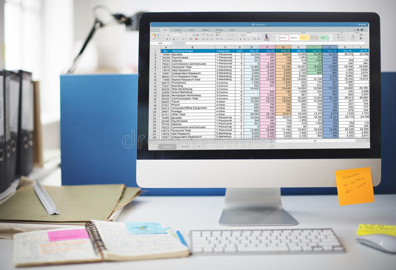 Spreadsheet Document Information Financial Startup Concept royalty free stock image