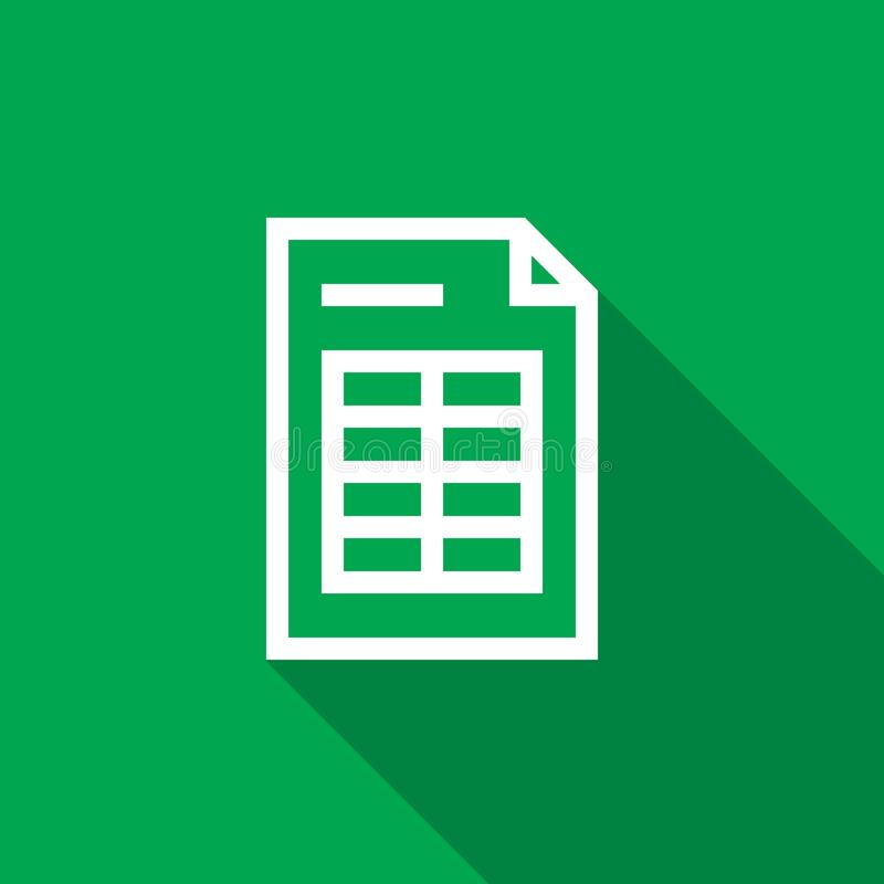 Spreadsheet document paper outline icon. thin line style for graphic and web design. Simple flat symbol vector Illustration. Spreadsheet document paper outline stock illustration