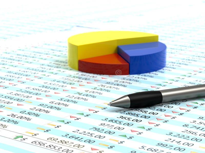 Spreadsheet en pen royalty-vrije illustratie